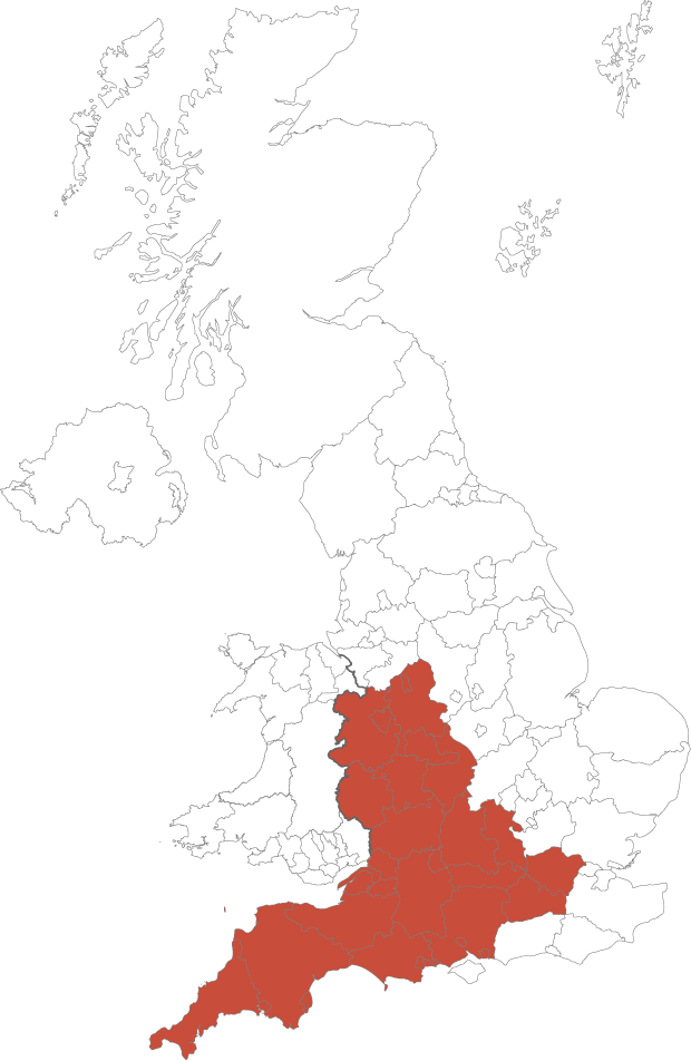 UK Map showing areas covered by Domus Holmes Property Finding Services